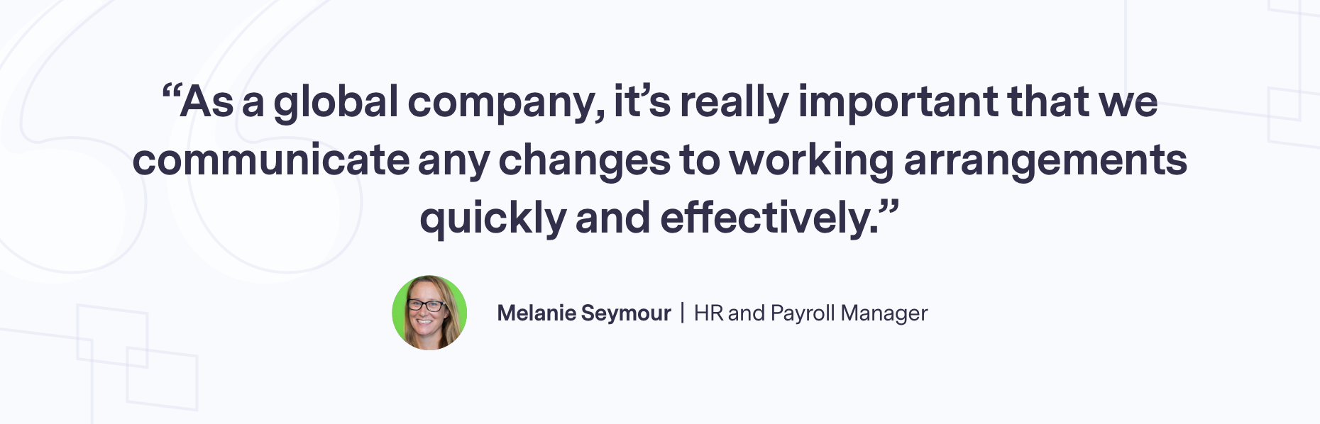 Quote from Melanie Seymour