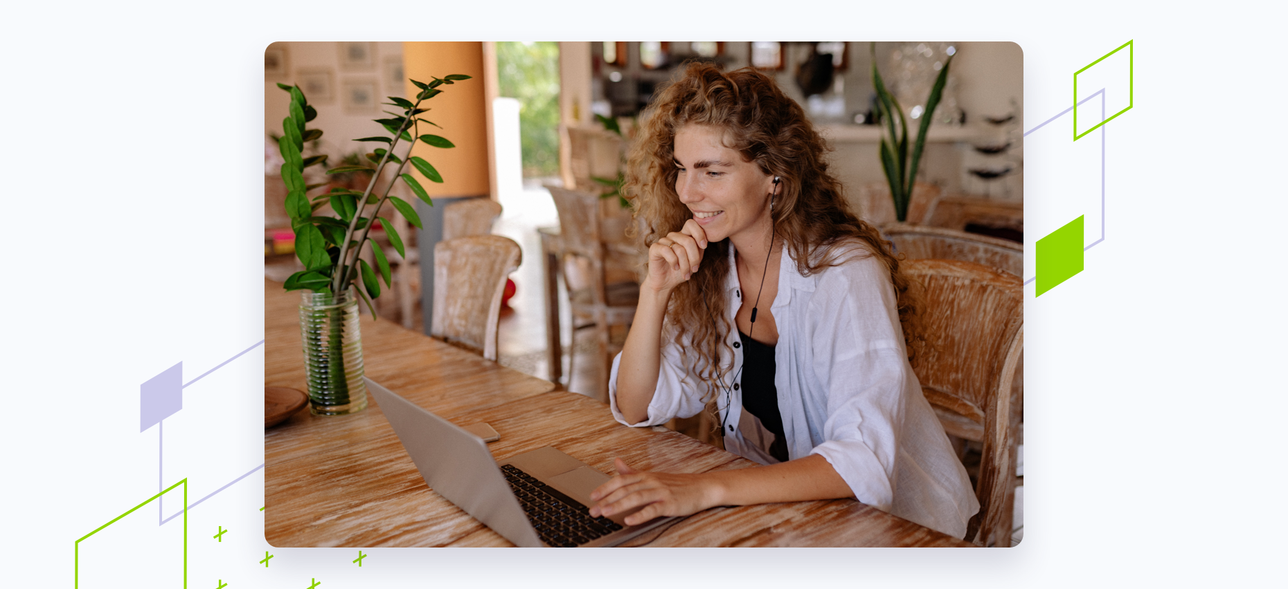 Woman on laptop working at table