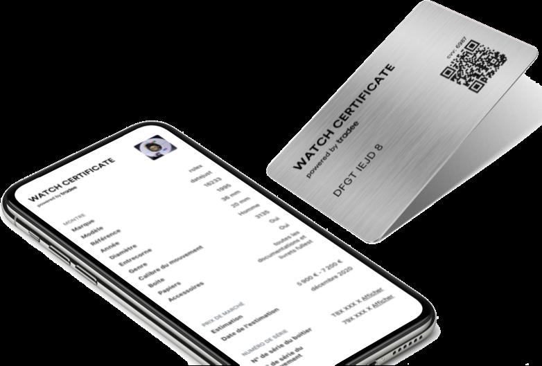 Image montrant un Watch Certificate Steel incliné avec à gauche son double numérique sur un smartphone.
