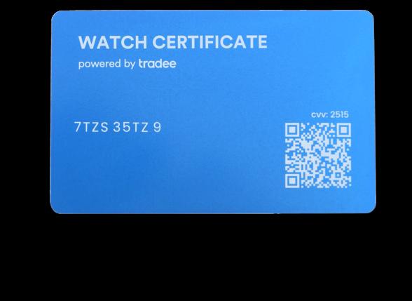 Icone d'un Watch Certificate Blue, si vous ne connaissez pas la valeur de la montre, pour un cadeau par exemple..