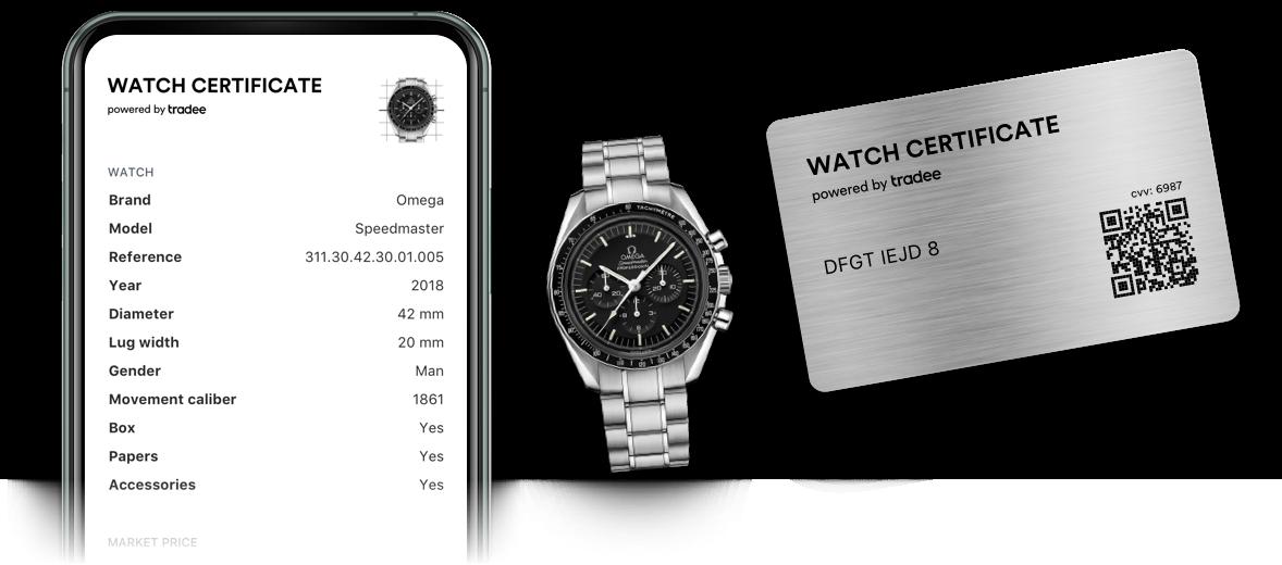Une Omega Speedmaster avec à sa droite un watch certificate Steel et à sa droite son double numérique sur smartphone