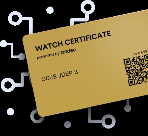 Icone d'un Watch Certificate Gold incliné vers la droite.