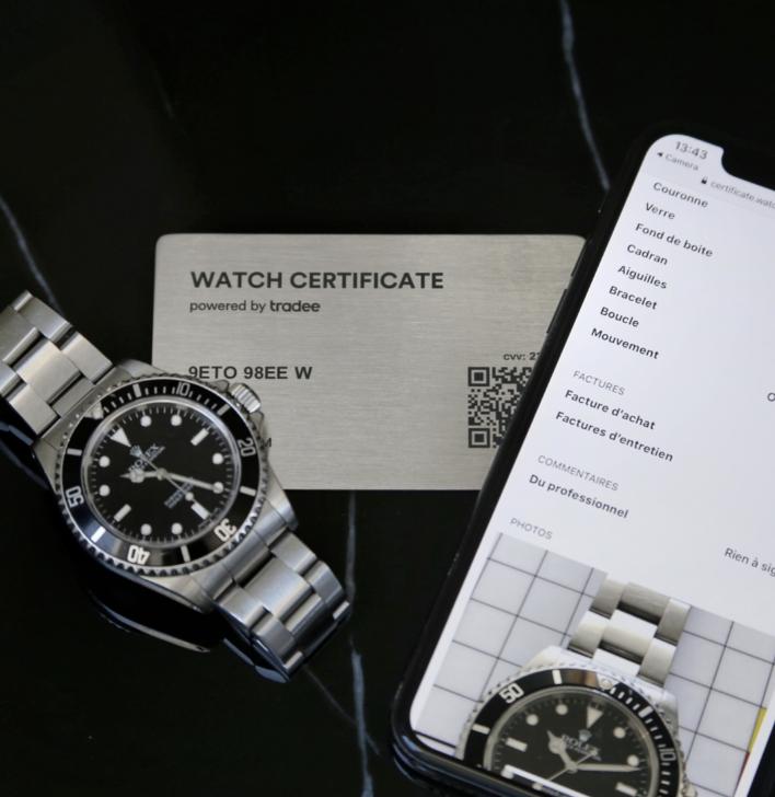 Rolex avec son certificat Steel et sa version numérique sur Smartphone