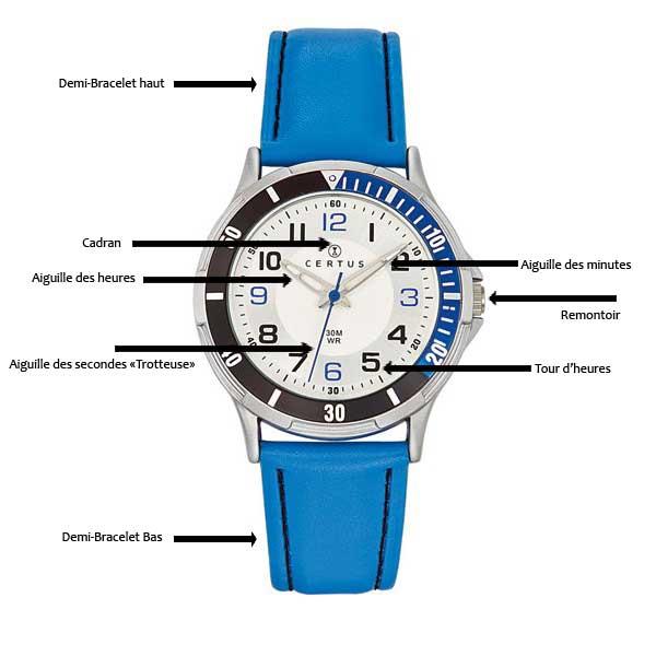 Schéma qui montre toutes les parties d'une montre