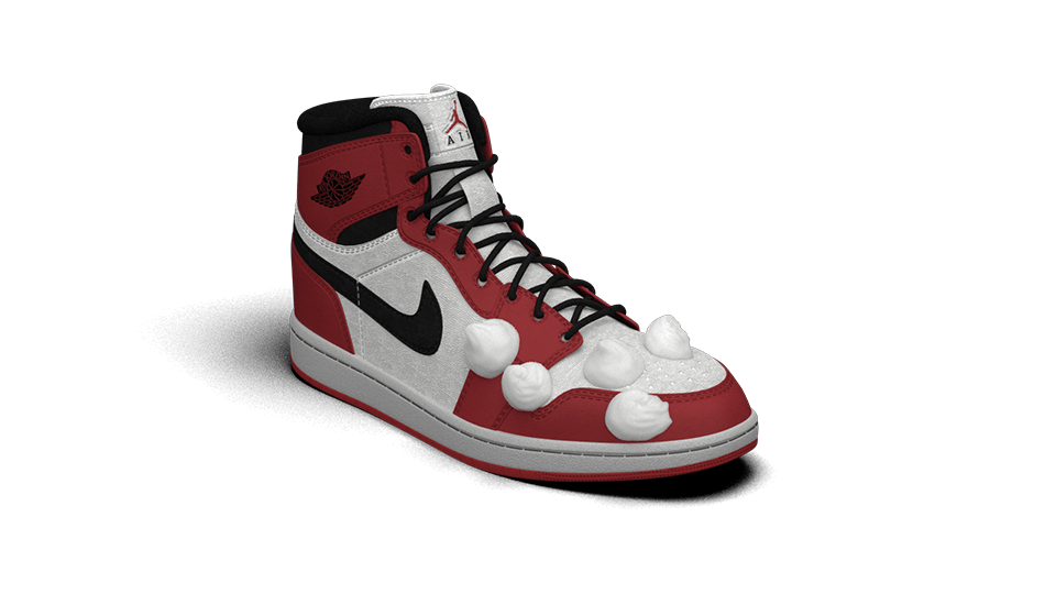 Air Jordan with  Shoe  Cleaner foam. Click to play animation.