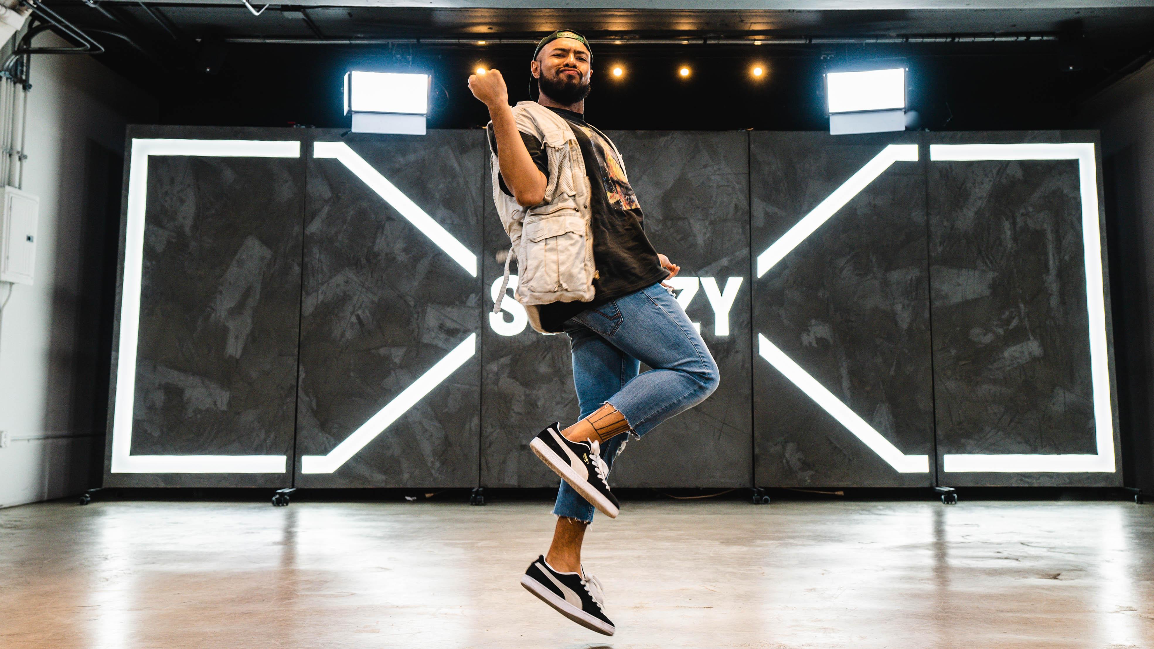 Brandon Beastboi Juezan doing the shoot dance move
