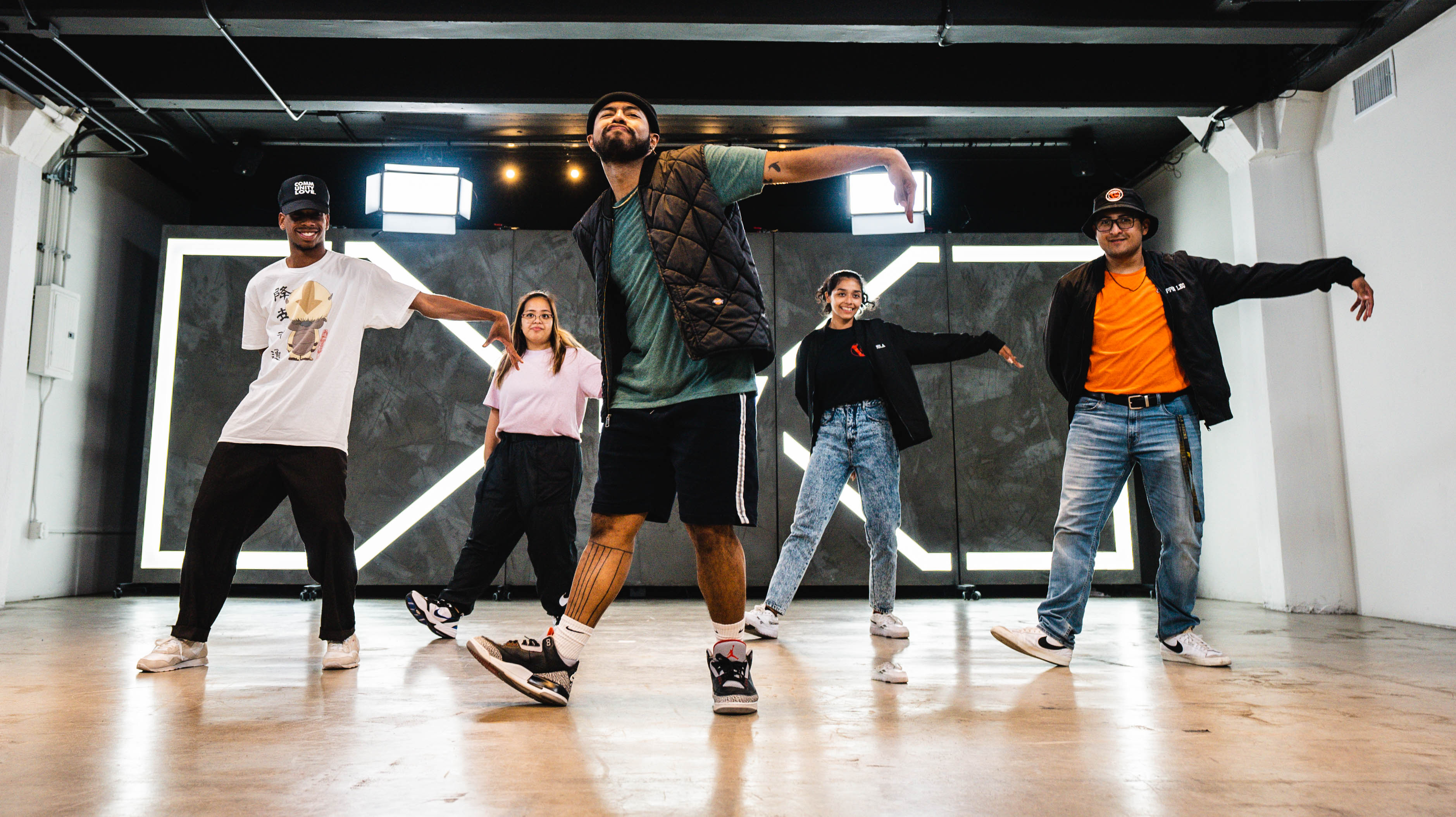 dancers grooving together