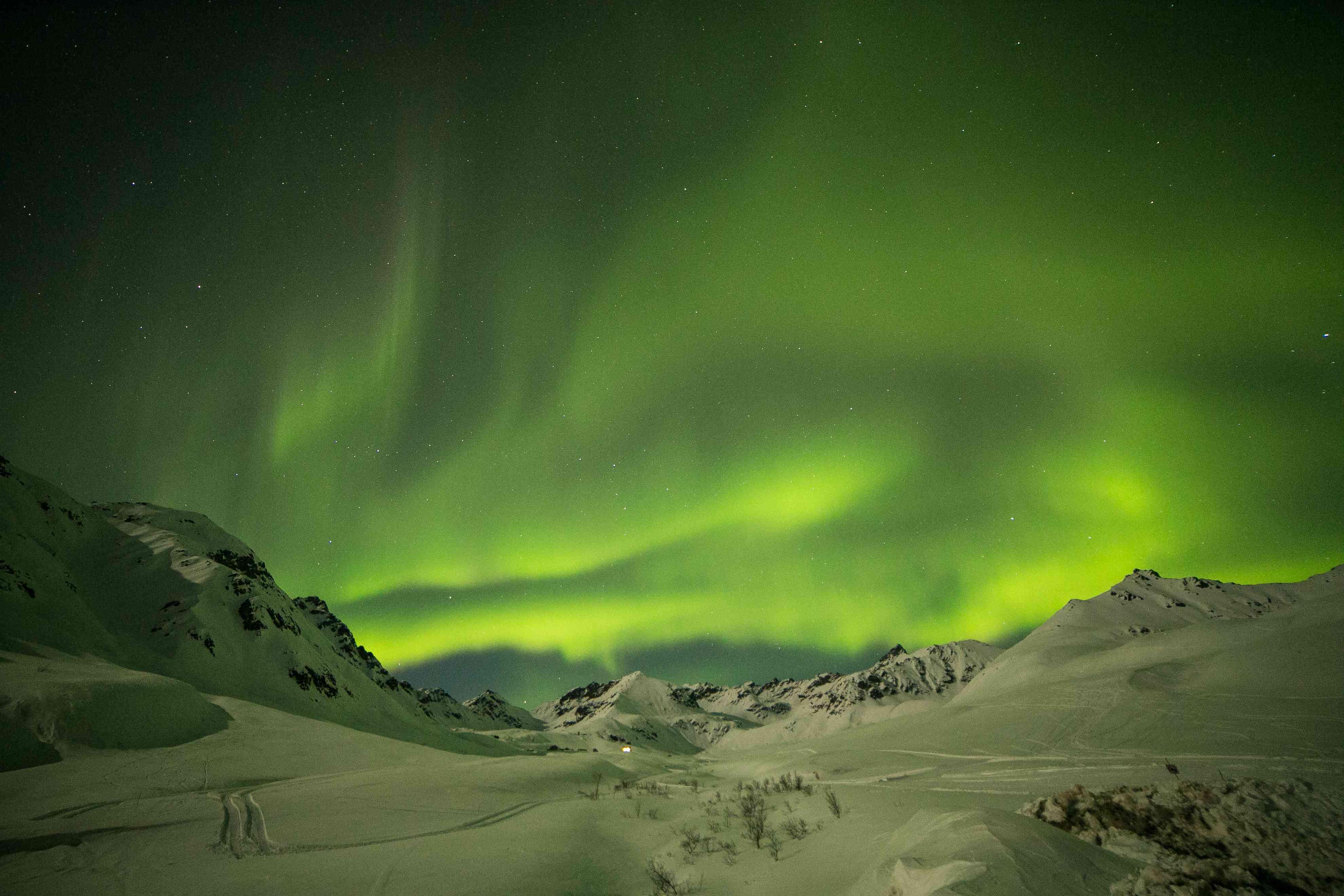 The aurora borealis at winter