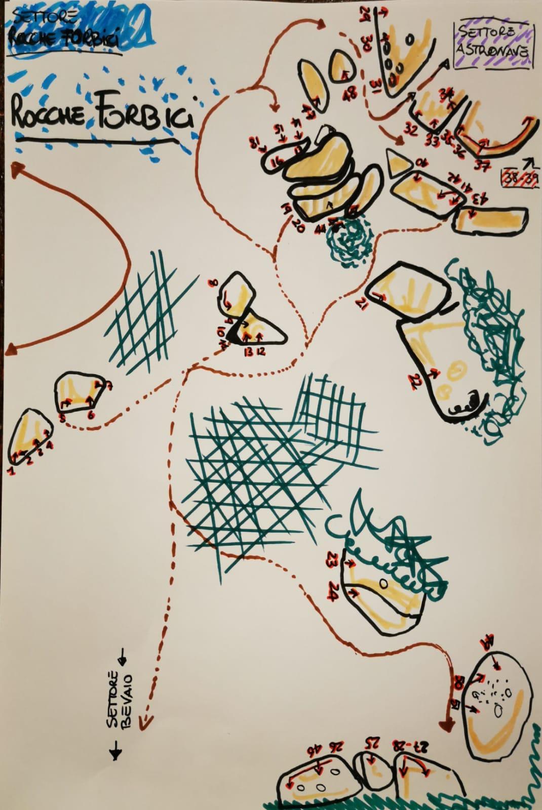 Topografia disegnata a mano dei massi alle Rocche Forbicie