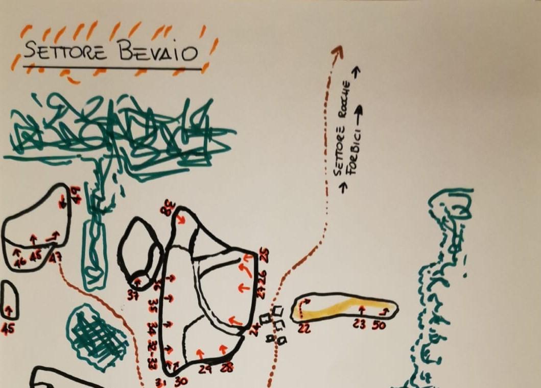 Topografia disegnata a mano del settore Bevaio nella foresta di Sorace