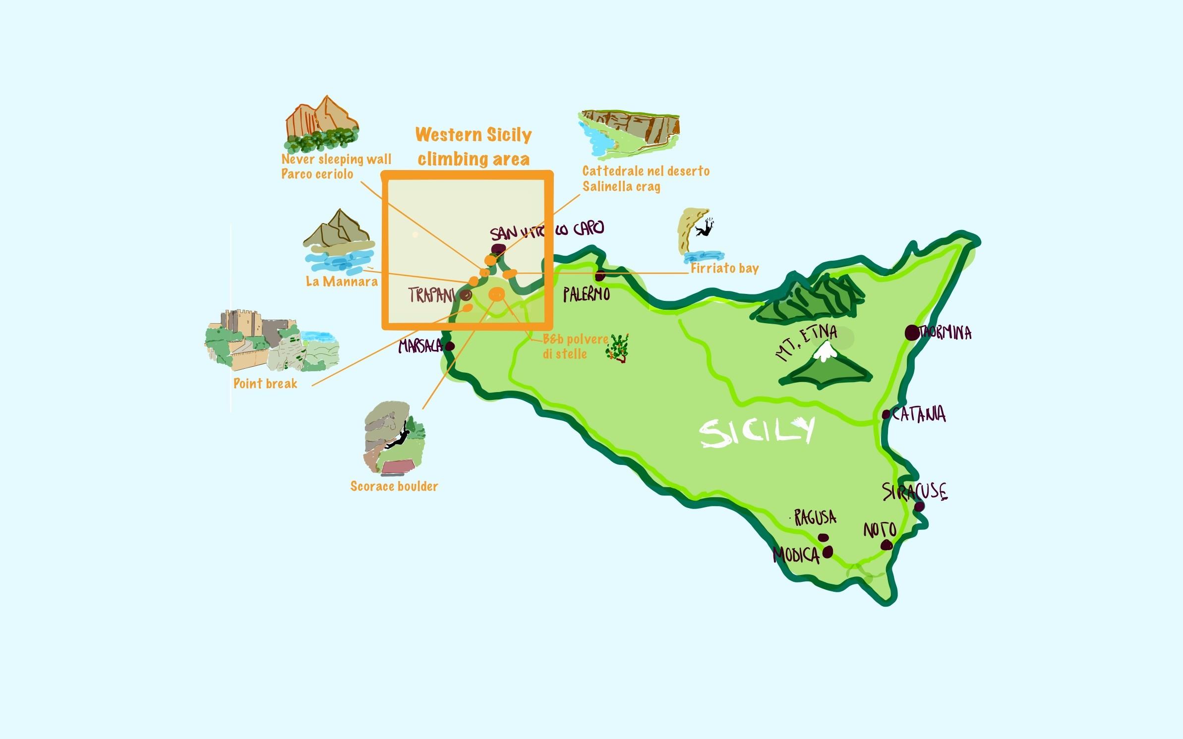 Mappa a colori disegnata a mano di Sicilia con l'Etna e le città principali