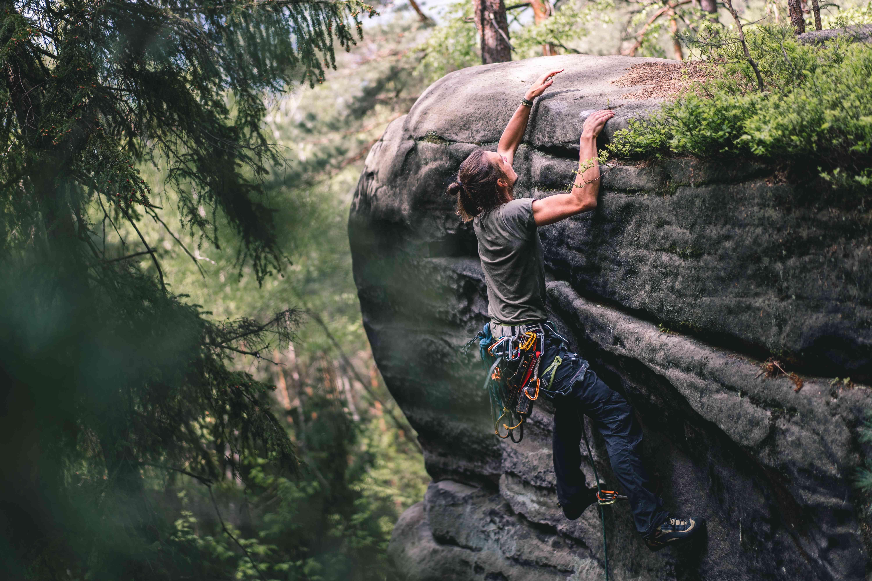 climber in Cesky Raj, Czech Republic