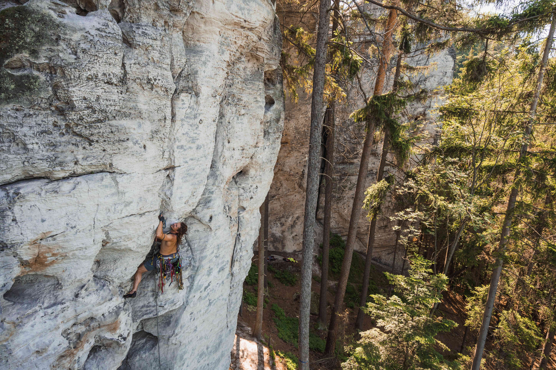 Foto di un'arrampicata sportiva al Cesky Raj