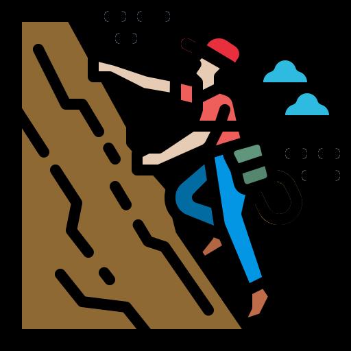 A cartoon drawing of a person rock climbing