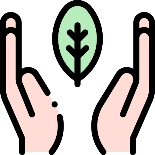 A drawing showing two hands facing one another, with a leaf in between them