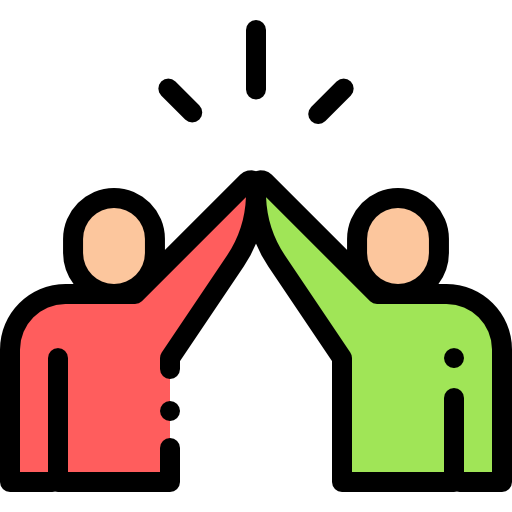 A cartoon of two people high-fiving