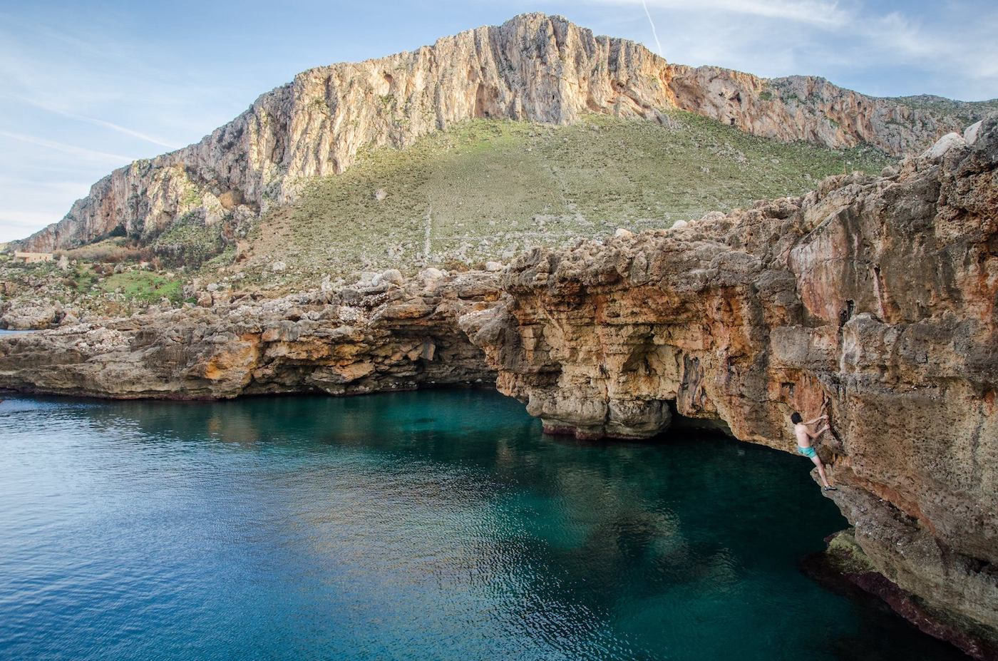 Deep water soloing in Sicily