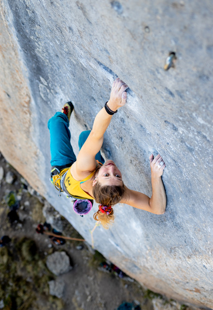 Alice sport climbing in Ceuse