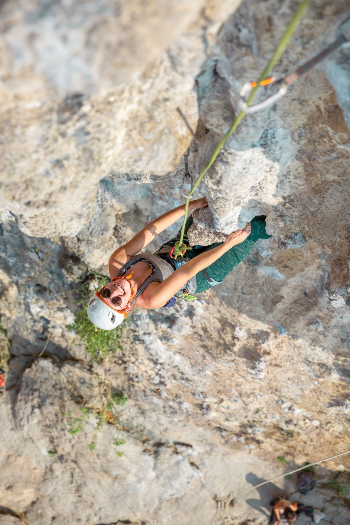 A woman climber seconding a route in Kalymnos