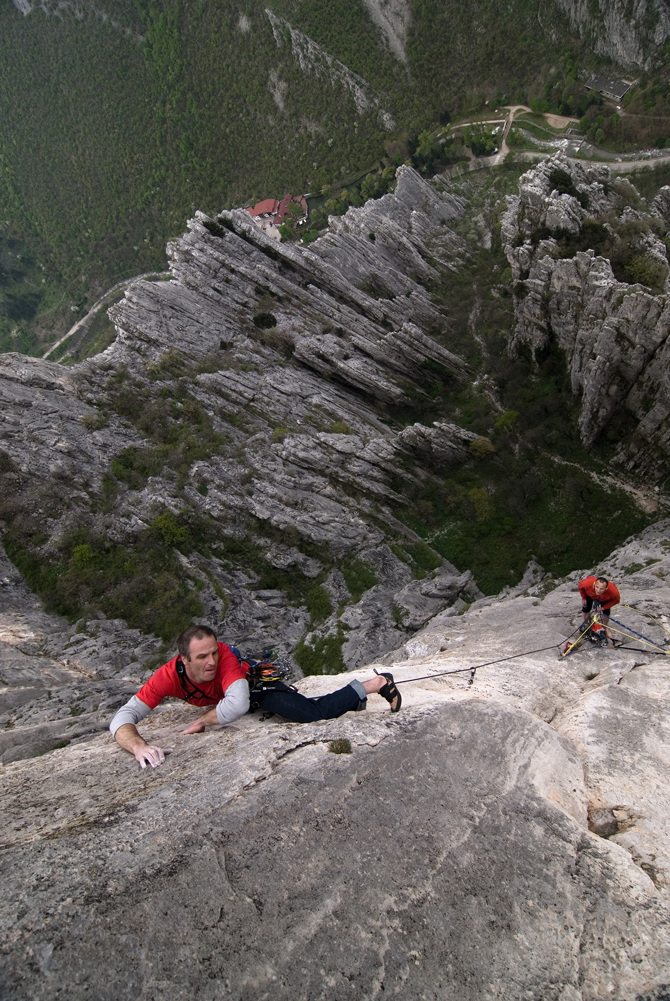 A rock climber on the Central Wall in the Vrasta Balkan National Park, Bulgaria