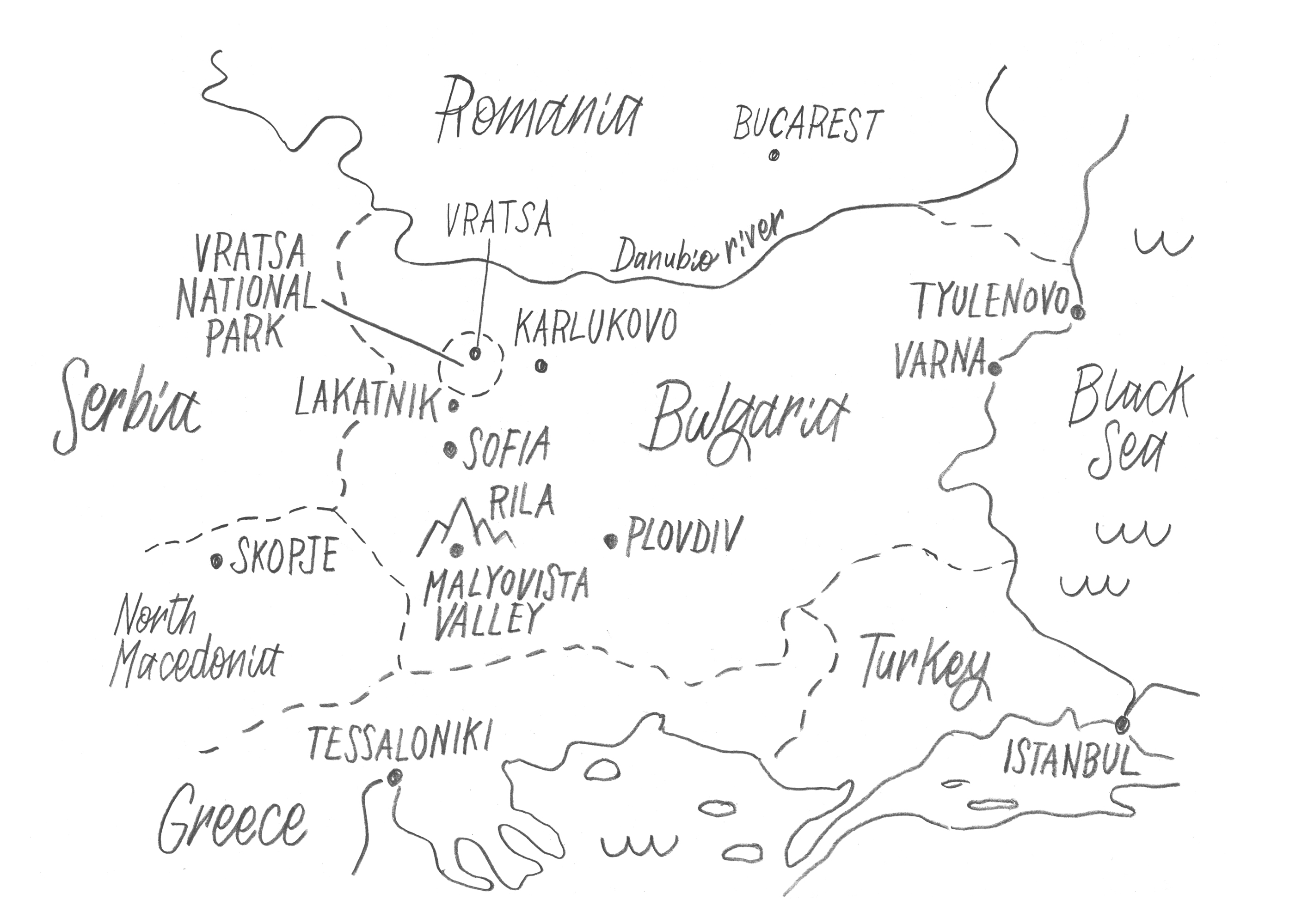 A map of the rock climbing areas in Bulgaria