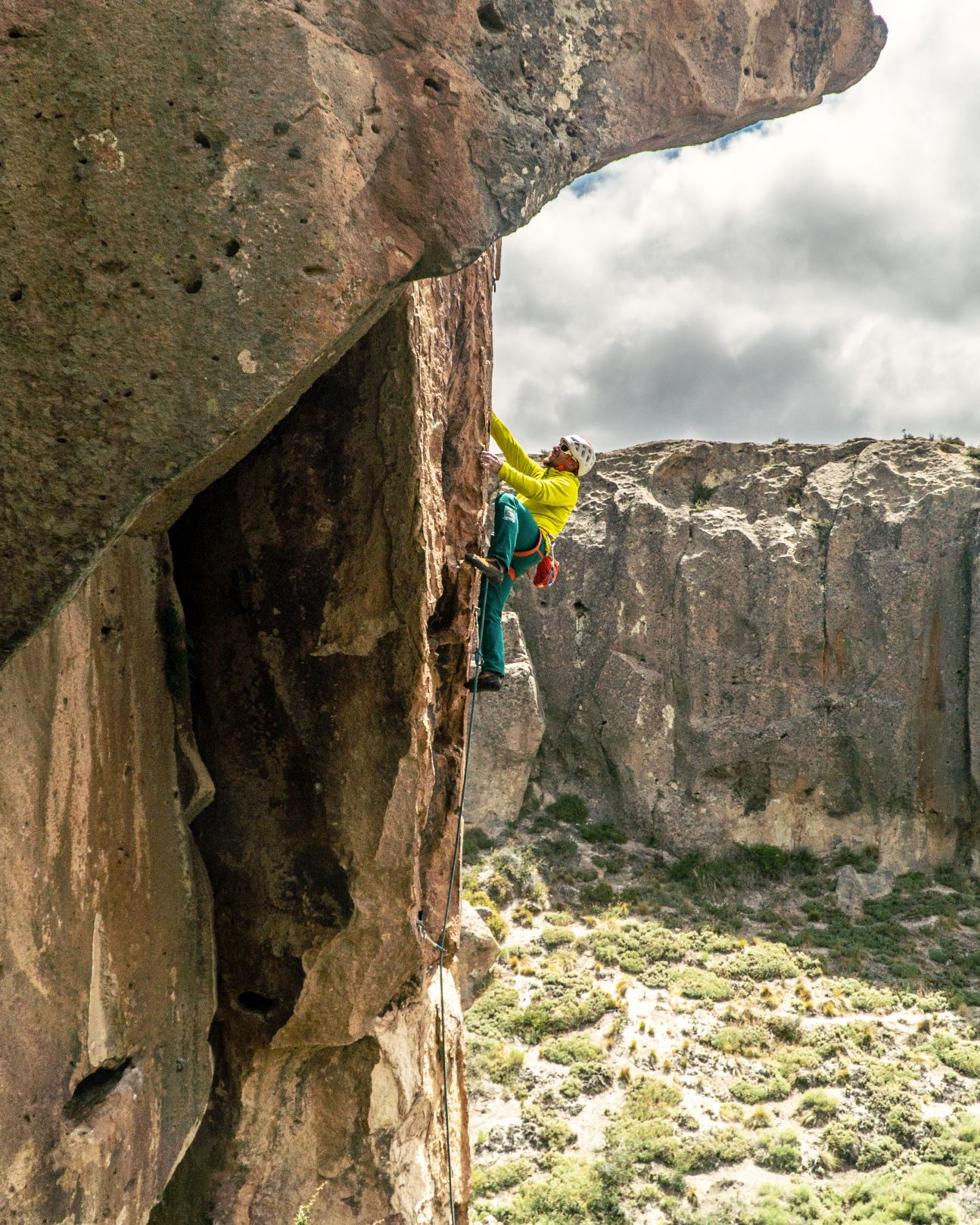 A rock climber in Arroyo Chacay, Northern Patagonia