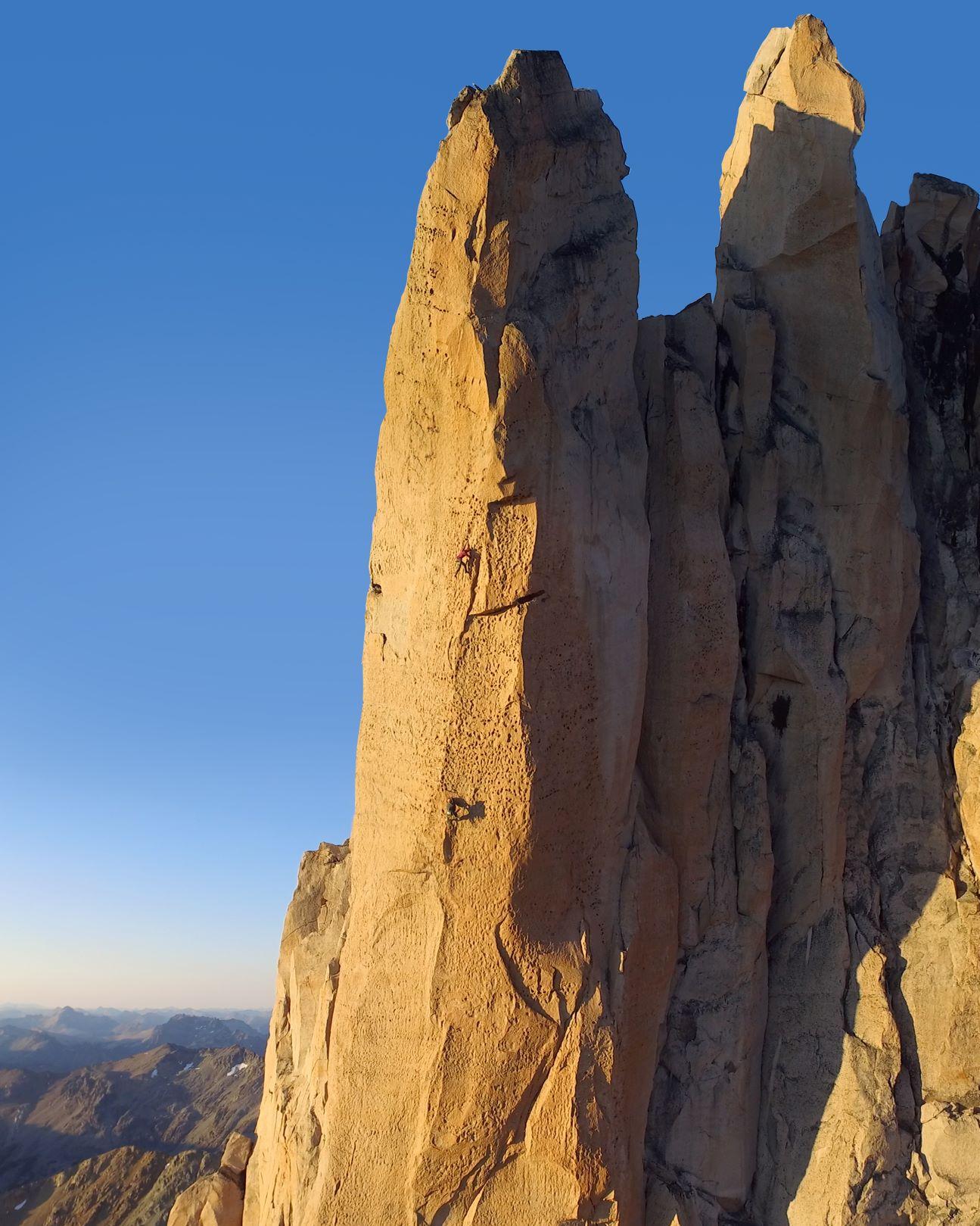Two people rock climbing on Torre Principal, Frey, Argentine Patagonia