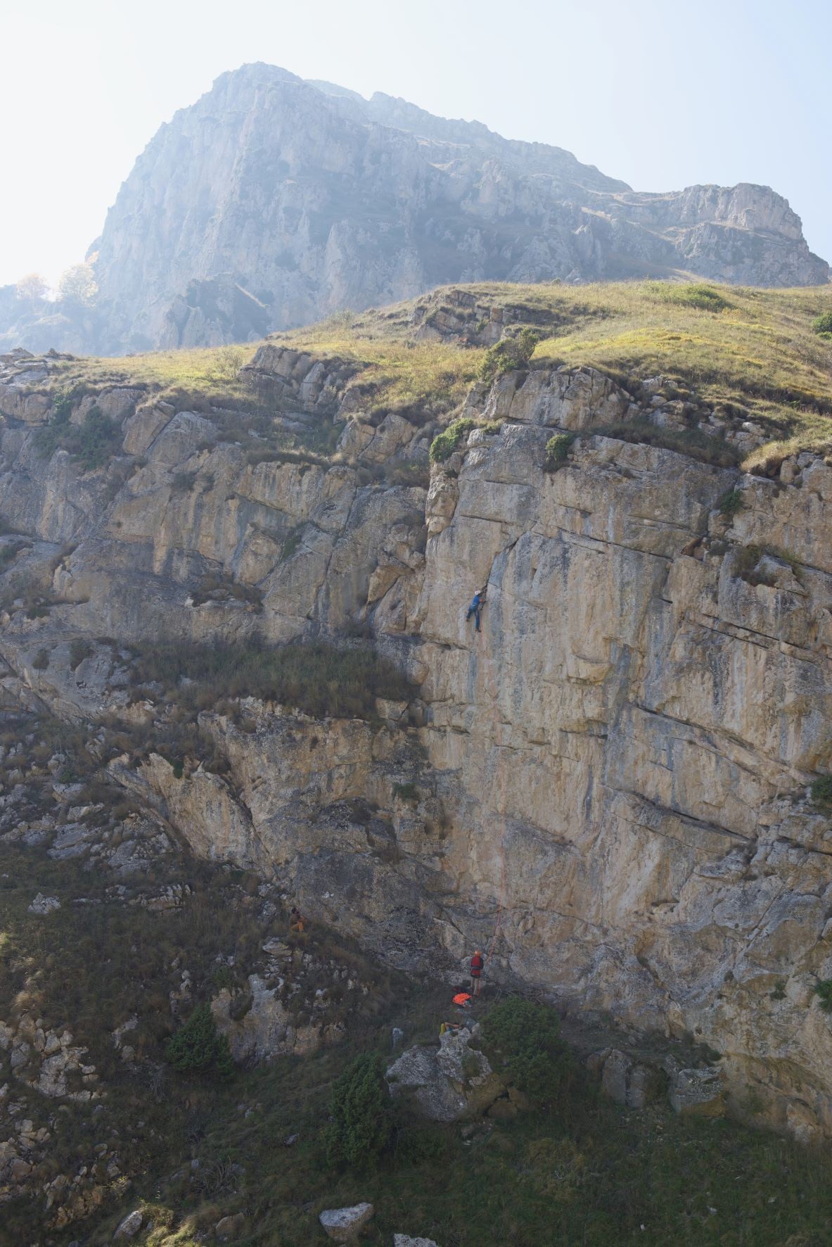 A person climbing on the cliffs at Dilijans, Armenia