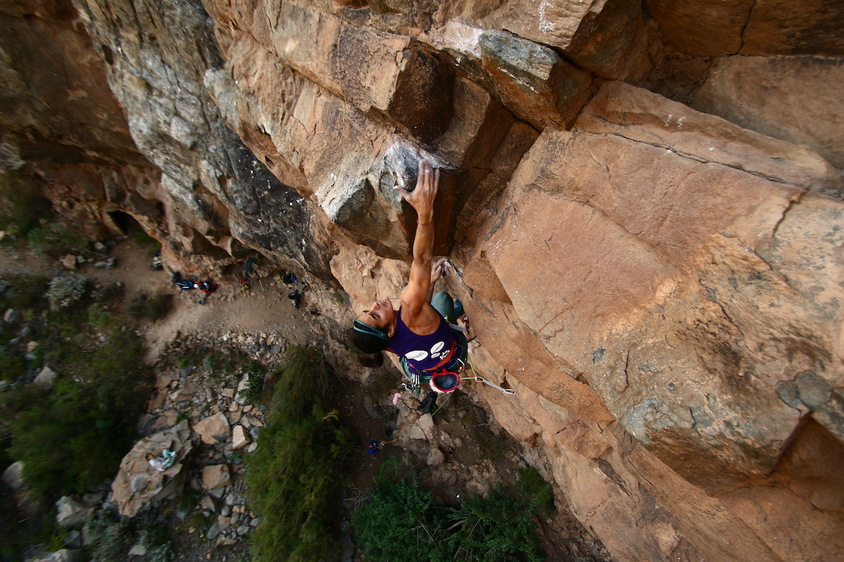 Rock climbing in the Guasiegre sector, Tenerife