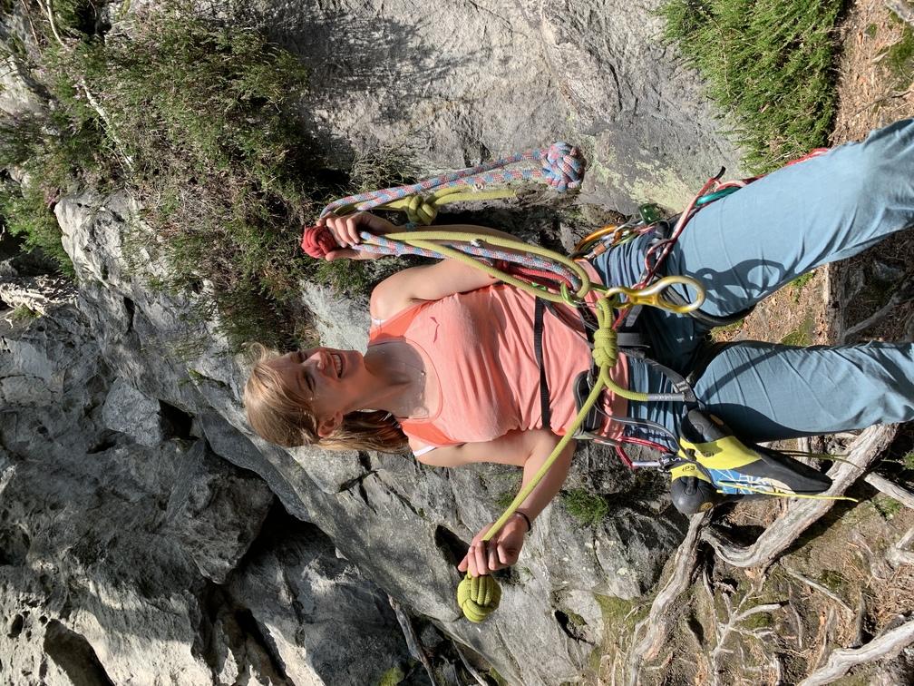 A rock climber eyeing up a traditional Czech rack