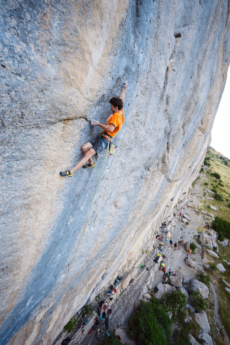 Stefano Ghisolfi climbing in Ceuse