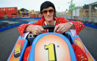 Evlis driving a go kart