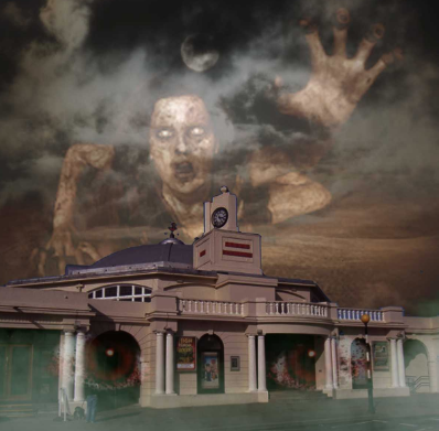 Horror scene above the Grand Pavilion