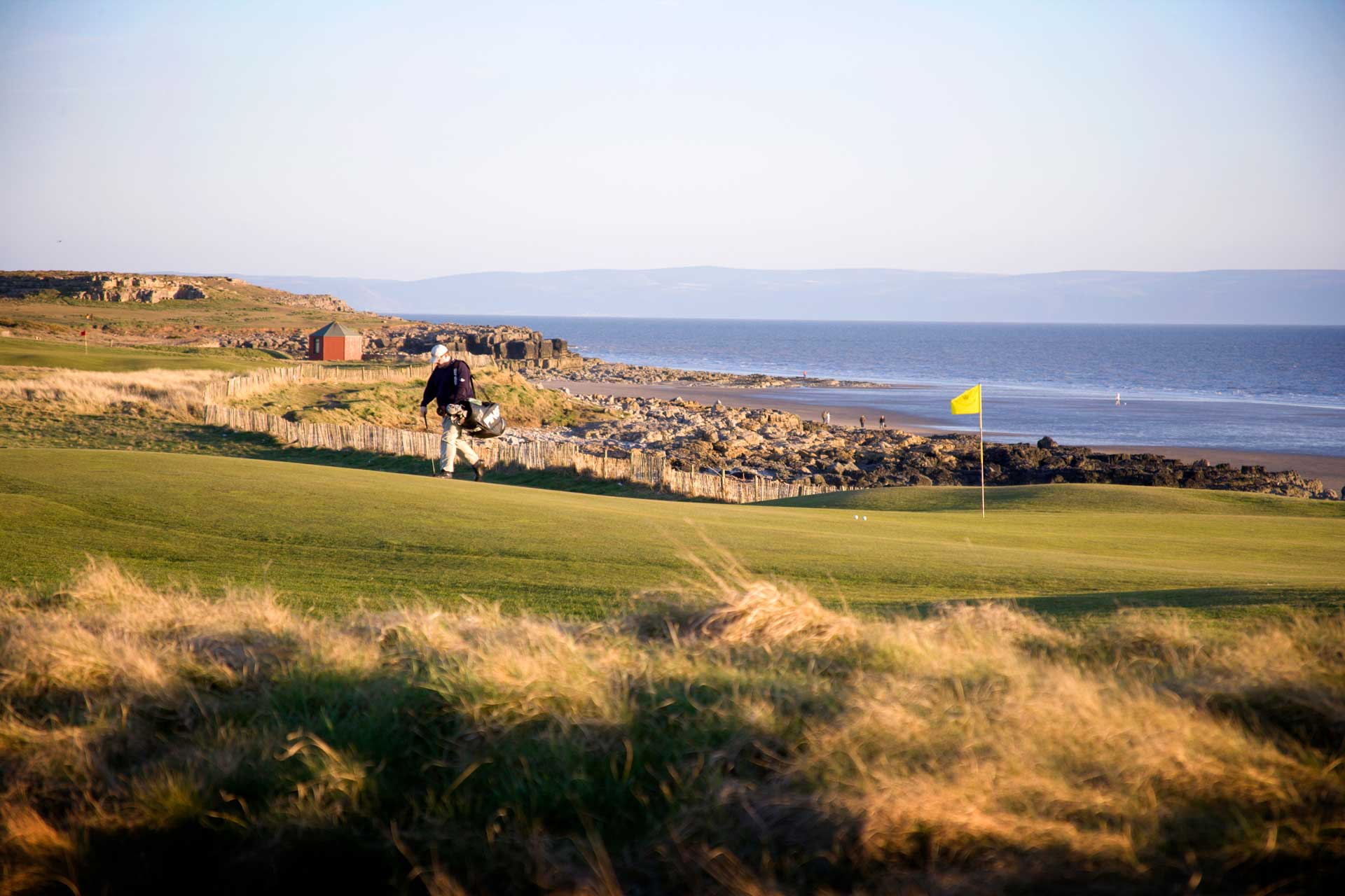 Views of the sea and golf course at the Royal Porthcawl Golf Club
