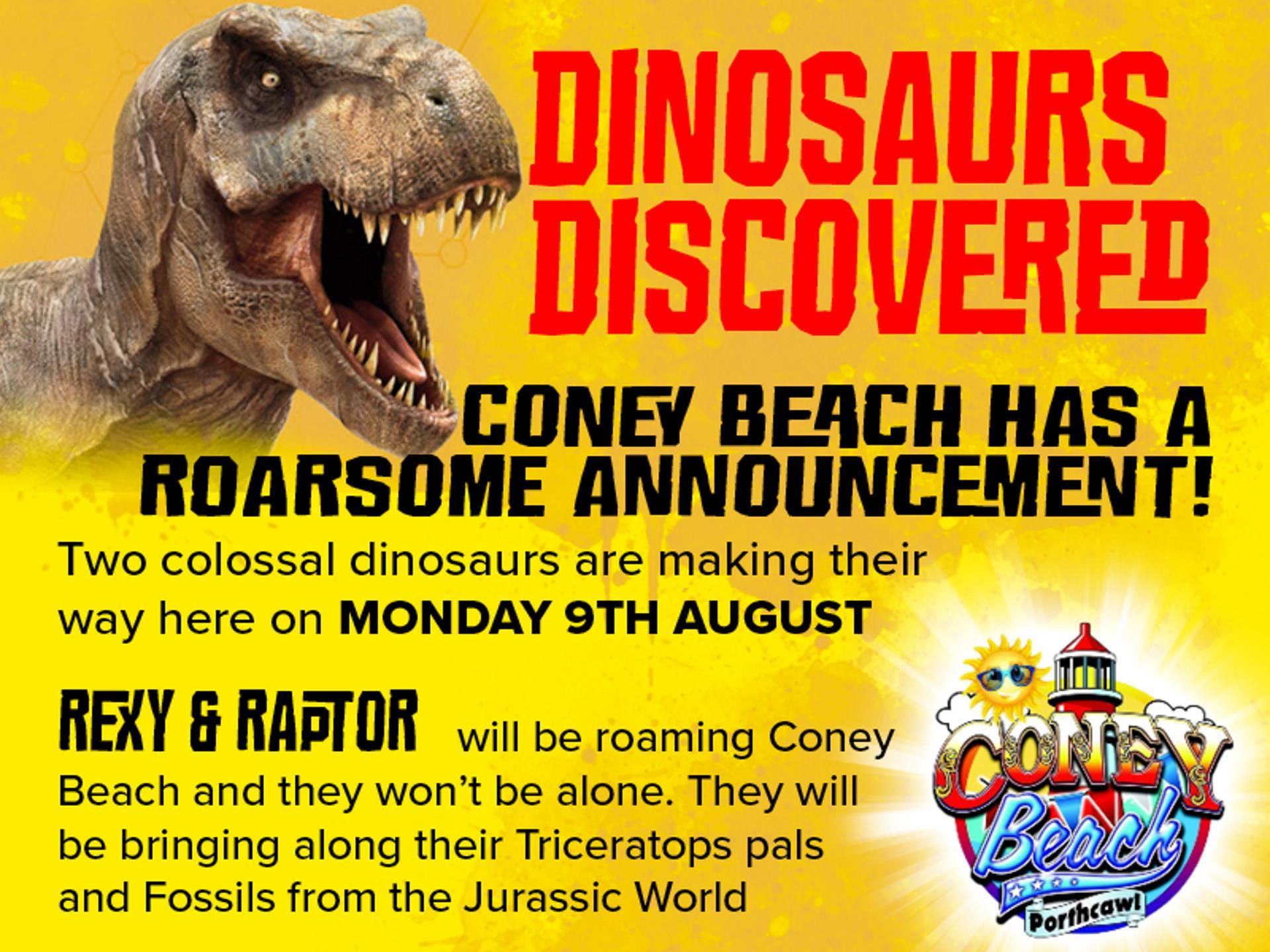 Dinosaurs Discovered at Coney Beach at Coney Beach Pleasure Park