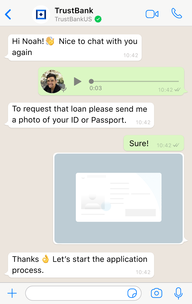 Conversation between an agent in Aivo's AI powered live chat and a user using images, voice messages, and emojis.