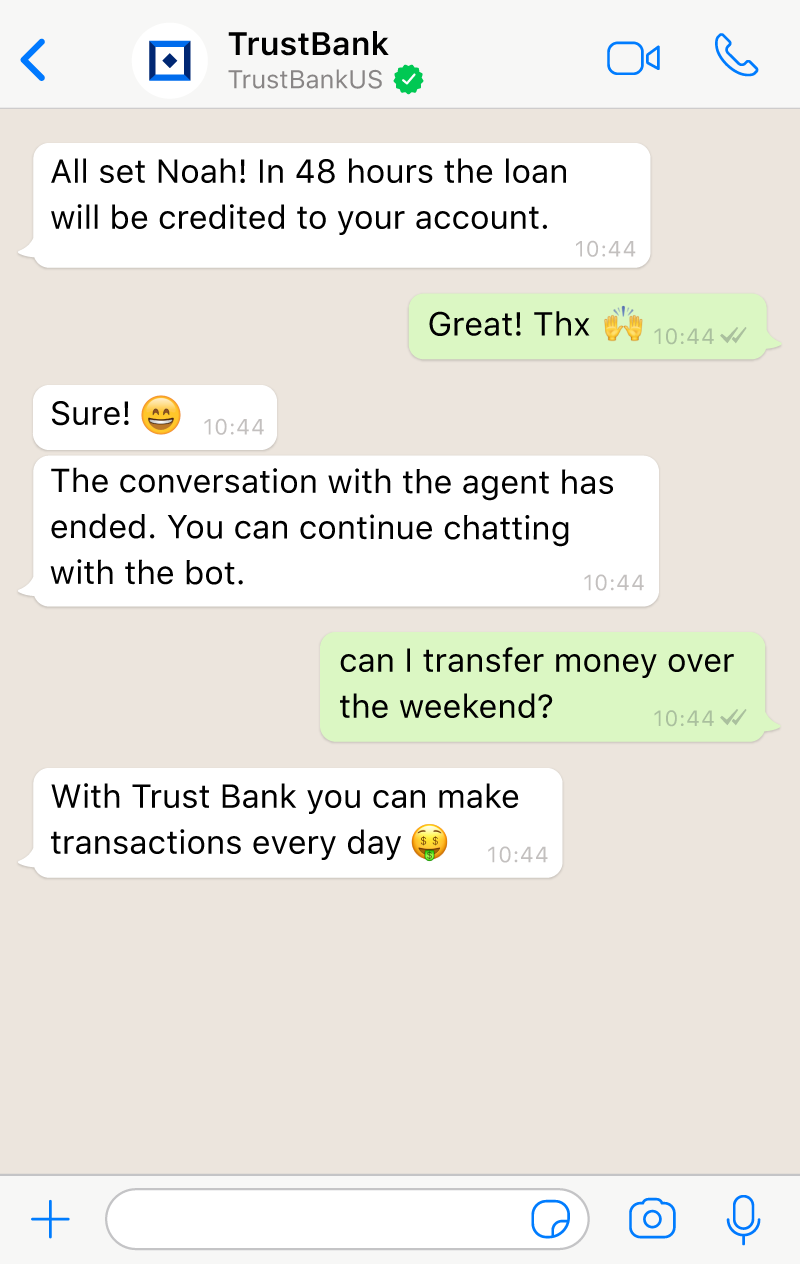 The session returns to the AI ​​chatbot after the conversation between the user and the agent in the live chat ended.