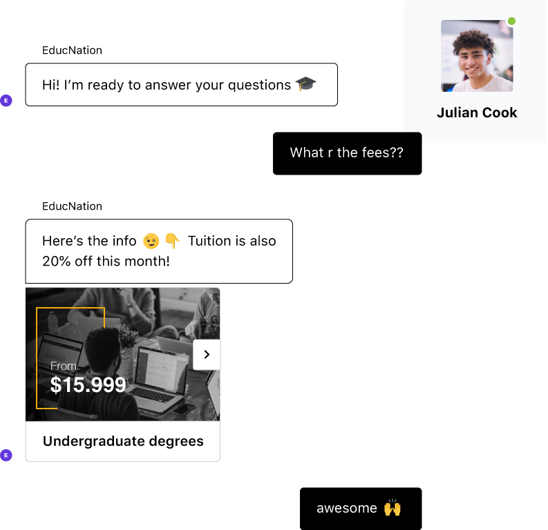Student interacts with bot with AI. Conversation is natural and fluid using colloquial language.