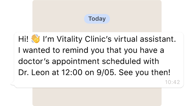 The bot sends an alert to the patient to remind them of their medical appointment