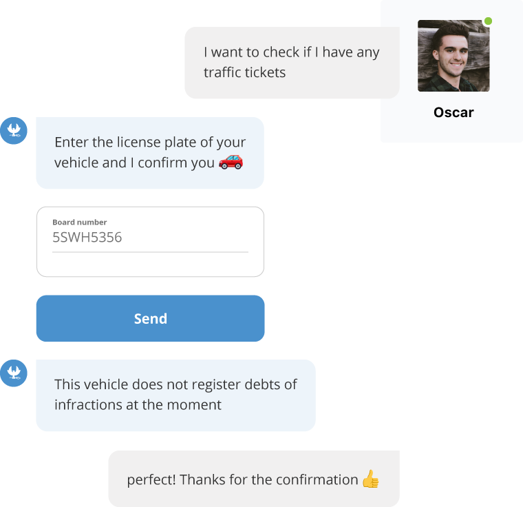 A citizen inquires about his traffic infractions and the bot asks for the license plate number to give an answer