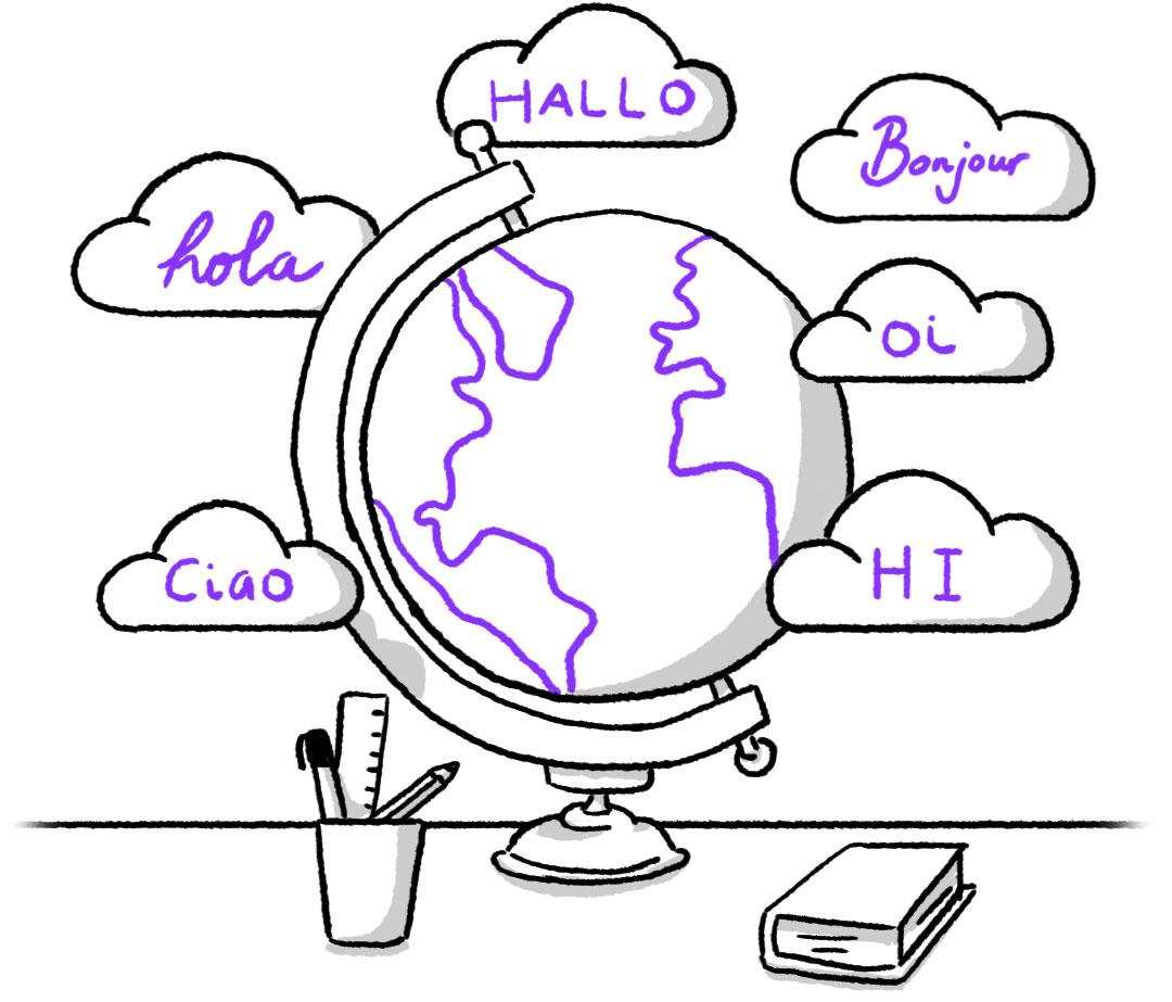 O bot conversacional da Aivo  cumprimenta os clientes em diferentes idiomas.