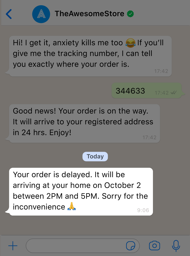 An AI WhatsApp chatbot sends a template message with a notification to a customer letting him know his order is delayed.