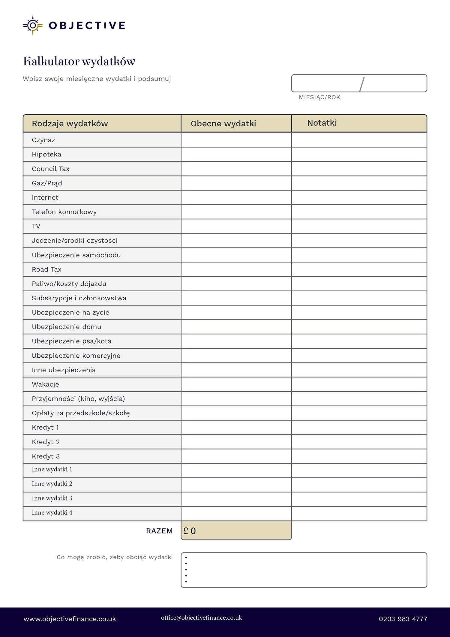 Kalkulator wydatków