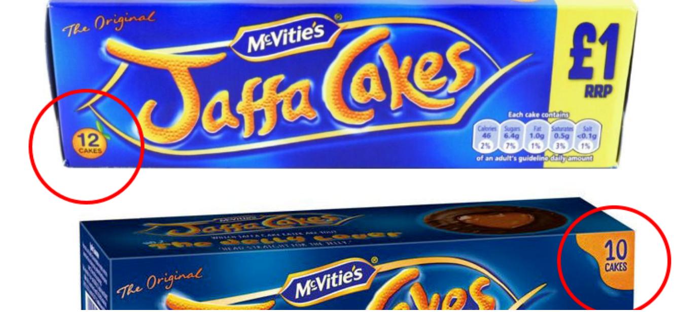 Jaffa Cakesopakowanie przed Brexitem zawierało 12 ciastek, po zmniejszono je do 10