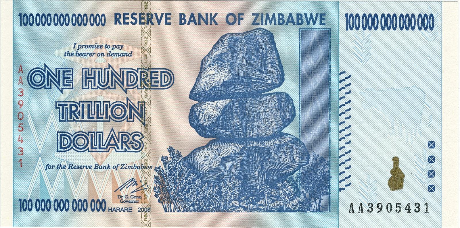 sto trylionów dolarów Zimbabwe