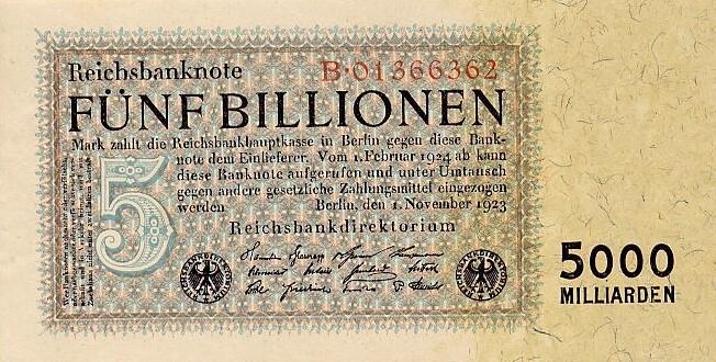 Banknot 5 bilionów (5000 miliardów) marek