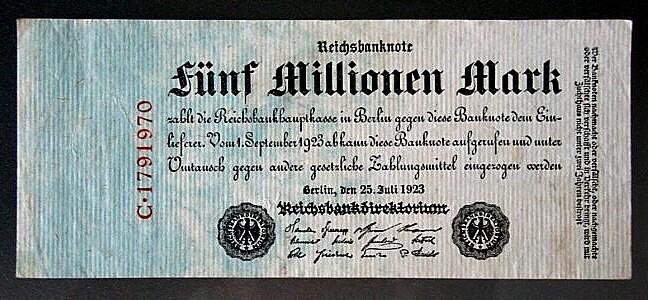Banknot - 5 milionów marek
