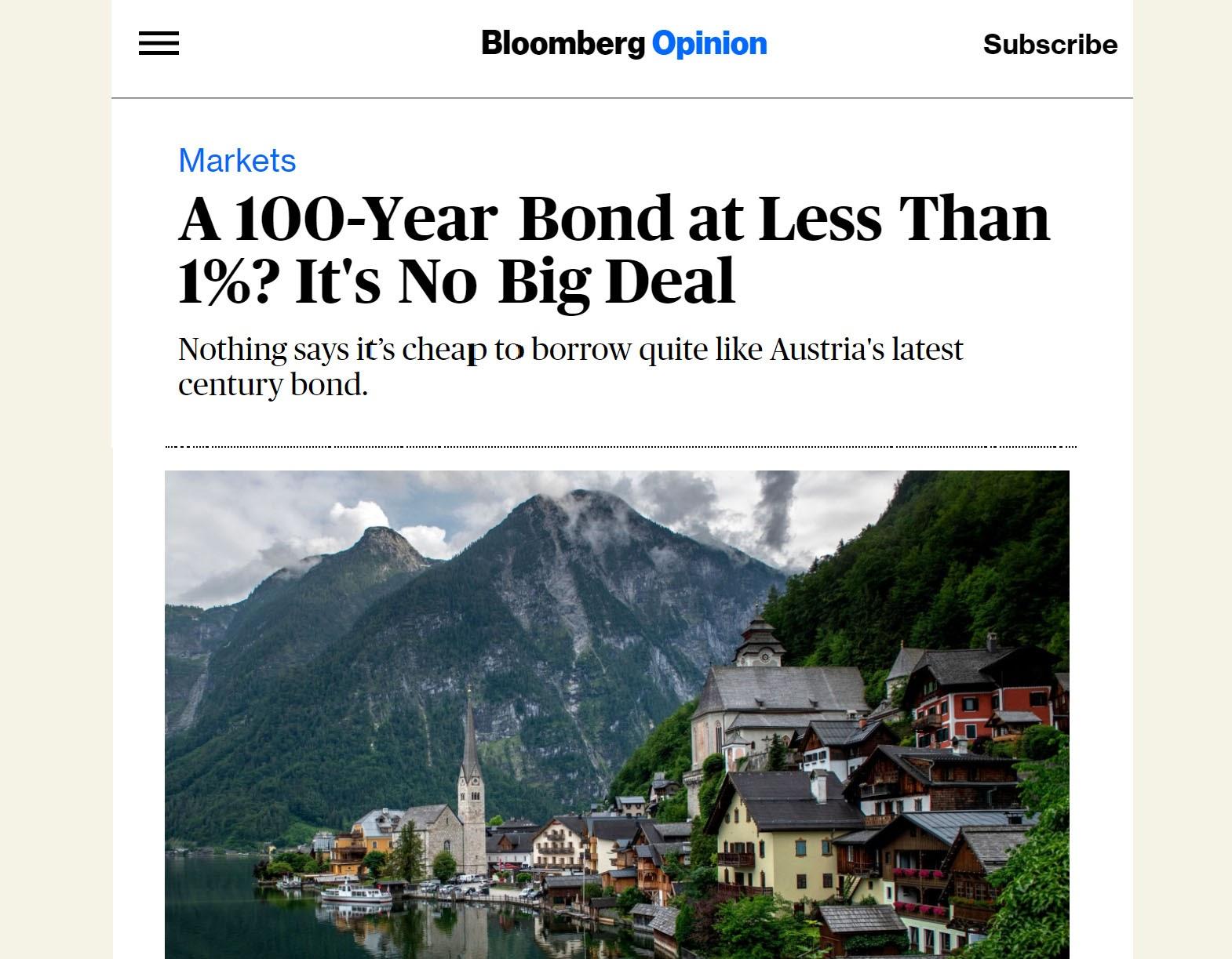 Artykuł z Bloomberg na temat super niskiego oprocentowania pożyczki zaciągniętej przez Austrię