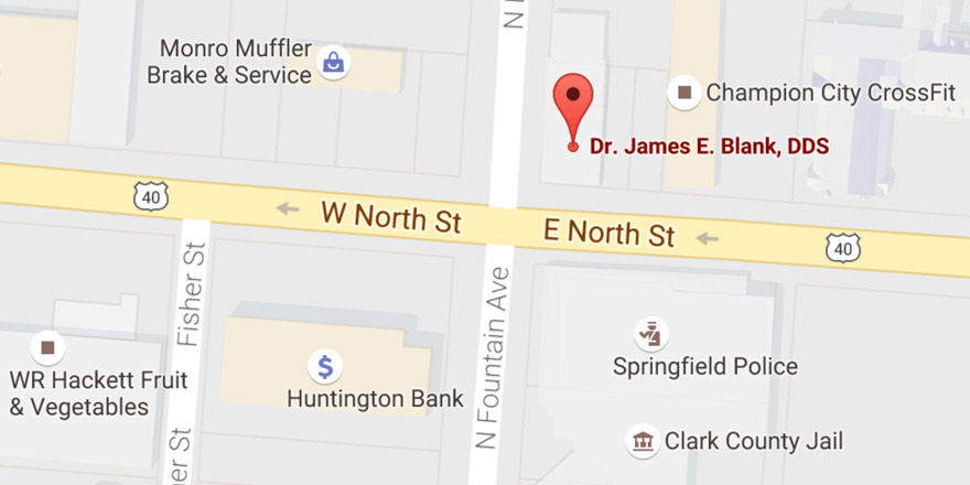 Map to Advanced Dentistry, located on the northeast corner of North Fountain Avenue and East North Street in Springfield, Ohio