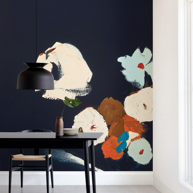 Abstract Botanical Navy Shadows Wall Mural